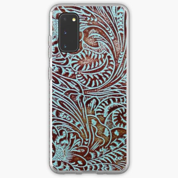 Aqua Brown Tooled Leather Pattern Samsung Galaxy Soft Case