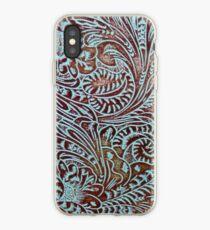 Aqua Brown Tooled Leather iPhone Case
