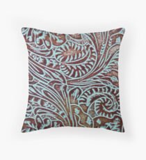 Aqua Brown Tooled Leather Throw Pillow