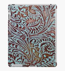 Aqua Brown Tooled Leather iPad Case/Skin