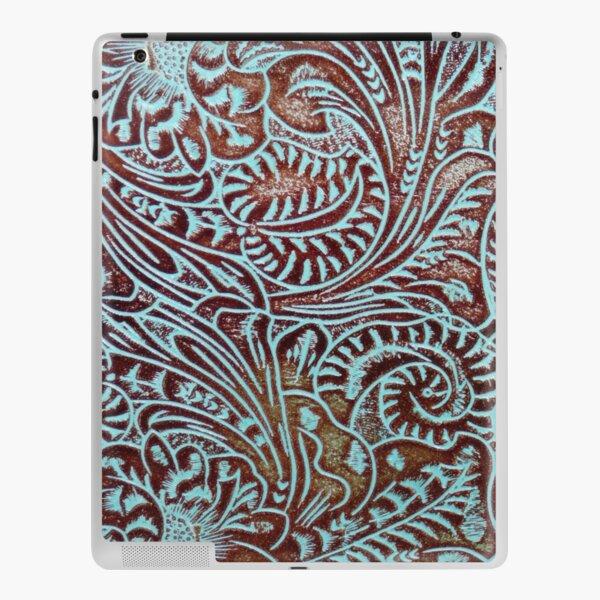 Aqua Brown Tooled Leather Pattern iPad Skin