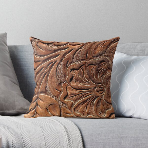 Vintage Worn Tooled Leather Throw Pillow