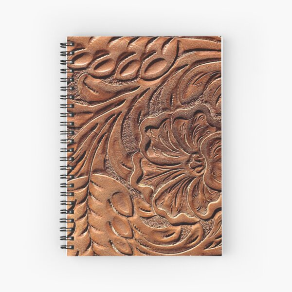 Vintage Worn Tooled Leather Pattern Spiral Notebook