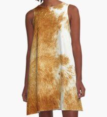 Golden Brown Cow Hide A-Line Dress