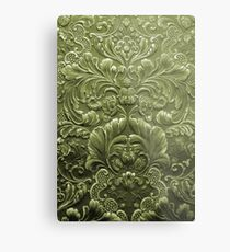 Celery Tooled Leather Metal Print