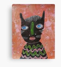 Black Cat Outsider Art Canvas Print