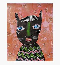 Black Cat Outsider Art Photographic Print
