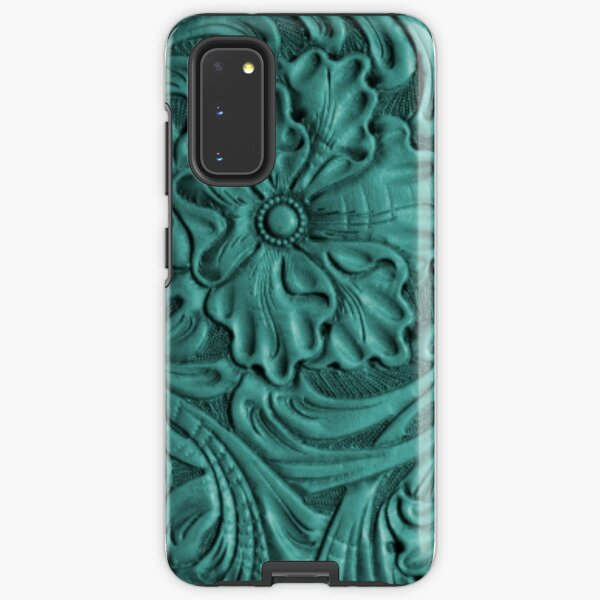 Teal Flower Tooled Leather Pattern Samsung Galaxy Tough Case