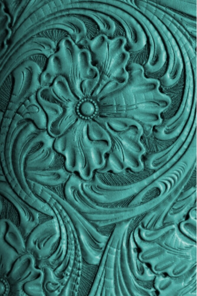 Teal Flower Tooled Leather by TheGhostTown