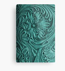 Teal Flower Tooled Leather Metal Print