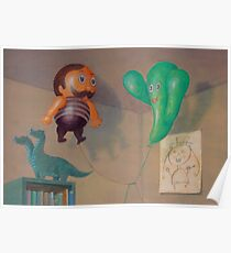 Two balloons in childs room Poster