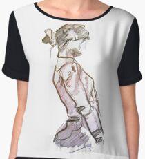 Art Tshirt Girl Sketch scribble Chiffon Top