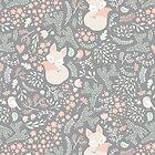 Sleeping Fox - grey seamless pattern by Ewa Brzozowska