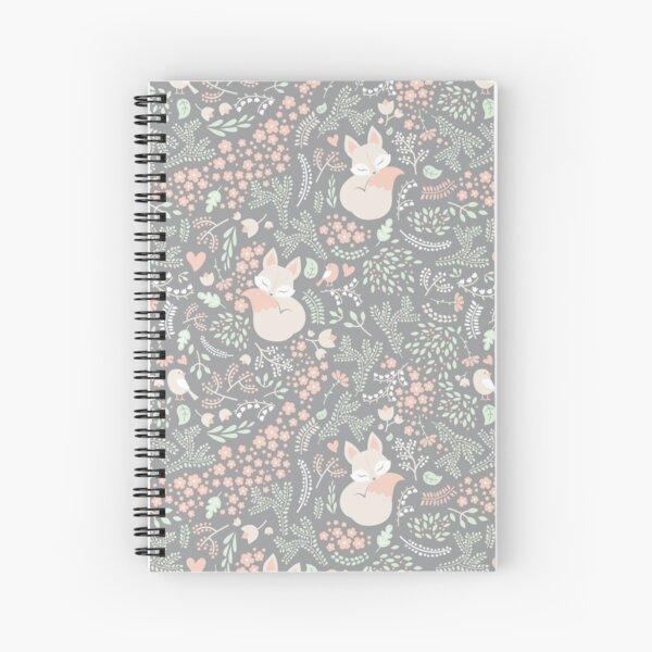 Sleeping Fox - grey seamless pattern Spiral Notebook