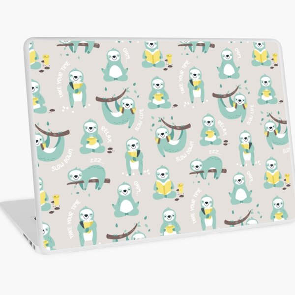 Lazy Sloth - mint and yellow pattern design Laptop Skin
