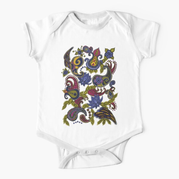 Paisley of '71 - black on blue Short Sleeve Baby One-Piece