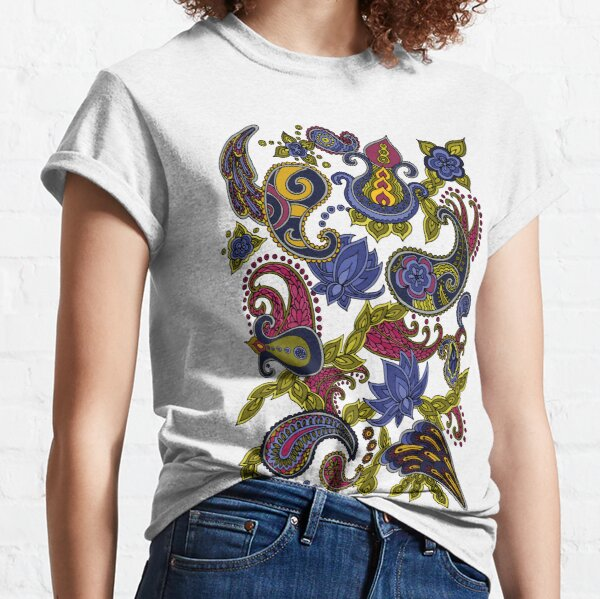 Paisley of '71 - black on blue Classic T-Shirt