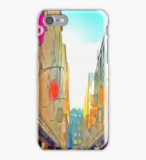 Passage between colorful buildings iPhone Case/Skin