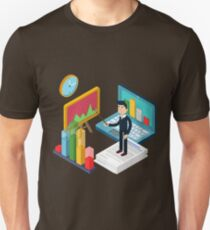 Business Presentation Isometric Concept with Businessman, Laptop, Charts Unisex T-Shirt