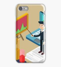 Business Presentation Isometric Concept with Businessman, Laptop, Charts iPhone Case/Skin