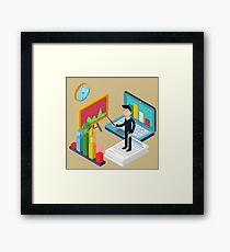 Business Presentation Isometric Concept with Businessman, Laptop, Charts Framed Print