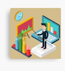 Business Presentation Isometric Concept with Businessman, Laptop, Charts Canvas Print