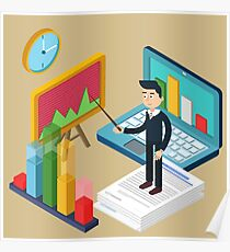 Business Presentation Isometric Concept with Businessman, Laptop, Charts Poster