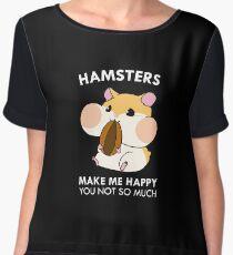 Hamsters Make Me Happy Funny Blushing Hamster Women's Chiffon Top