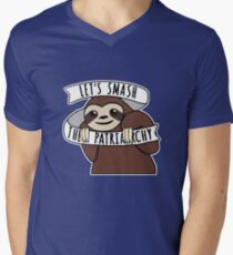 "Feminist Sloth ""Smash the Patriarchy"" Men's V-Neck T-Shirt"