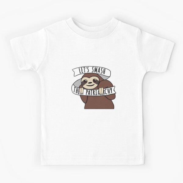 "Feminist Sloth ""Smash the Patriarchy"" Kids T-Shirt"