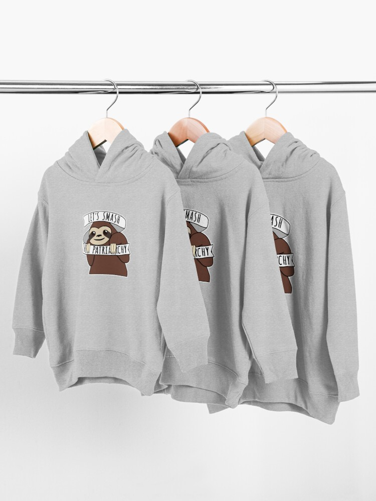"""Alternate view of Feminist Sloth """"Smash the Patriarchy"""" Toddler Pullover Hoodie"""