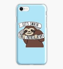 """Feminist Sloth """"Smash the Patriarchy"""" iPhone Case/Skin"""