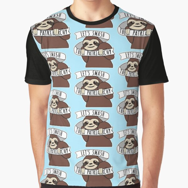 "Feminist Sloth ""Smash the Patriarchy"" Graphic T-Shirt"