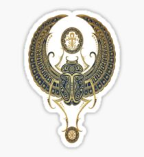 Golden Blue Winged Egyptian Scarab Beetle with Ankh  Sticker