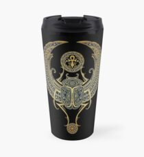 Golden Blue Winged Egyptian Scarab Beetle with Ankh  Travel Mug