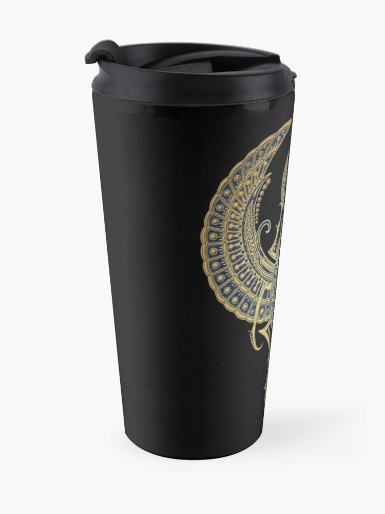 Alternate view of Golden Blue Winged Egyptian Scarab Beetle with Ankh  Travel Mug