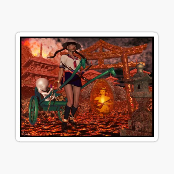 Hell Girl Shaman Witch Sticker
