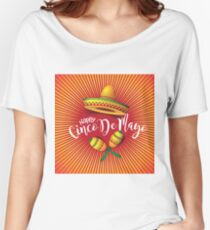 Festive Cinco De Mayo Sombrero, maracas, burst and lettering design. To celebrate the Mexican holiday on the fifth of May Women's Relaxed Fit T-Shirt