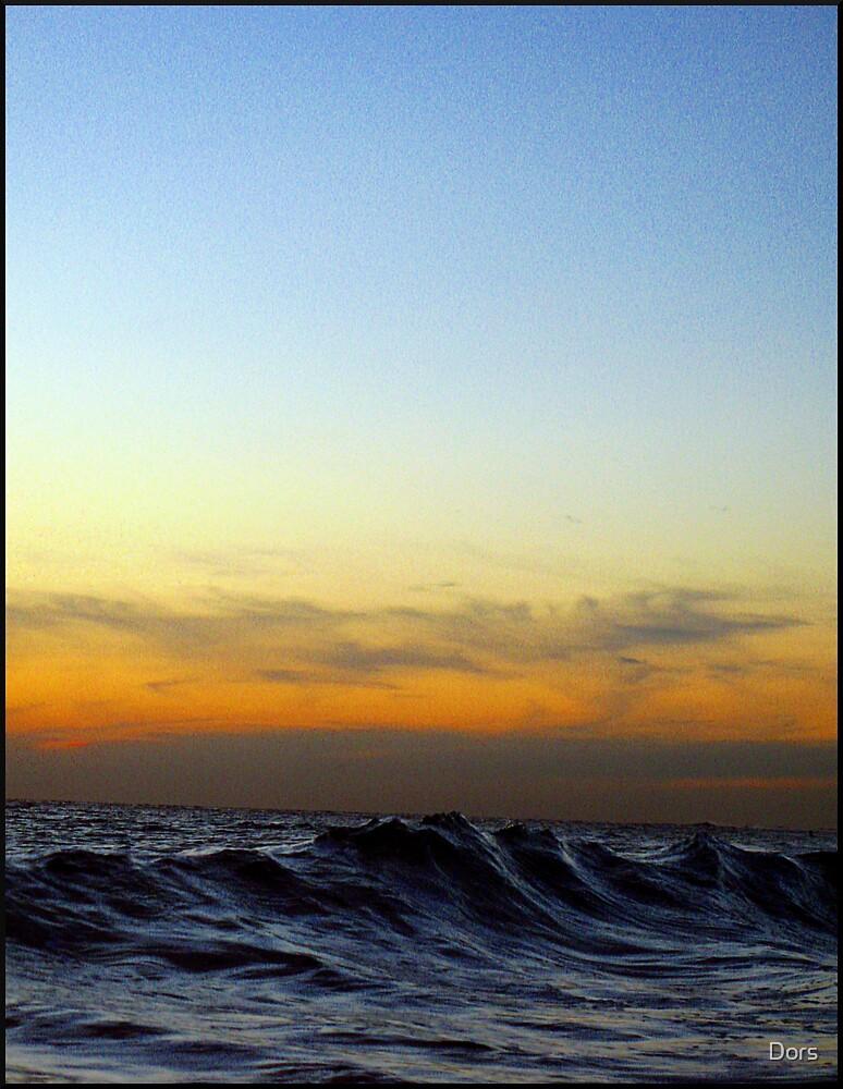 Ocean Mountain climbs towards the sunset by Dors