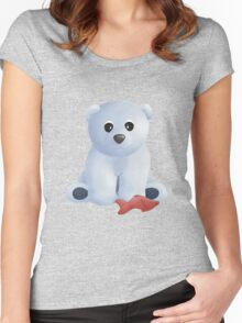 Polar Bear with Fresh Fish Women's Fitted Scoop T-Shirt