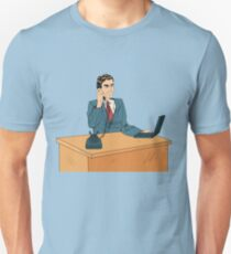 Businessman Pop Art Banner. Working Man Speaking on the Phone at Office with Laptop T-Shirt