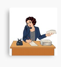 Businesswoman Pop Art Banner. Working Woman Speaking on the Phone at Office Canvas Print