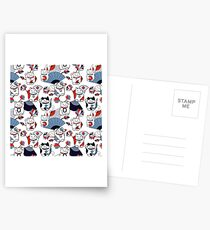 Maneki neko, lotus flowers and Japanese fans (white, blue, red) Postcards