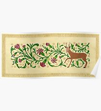 Roe Deer Among Carnations Poster