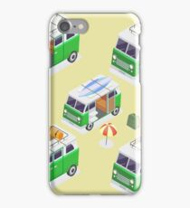 Isometric Camper Set with Different Vans and Camping Equipment iPhone Case/Skin