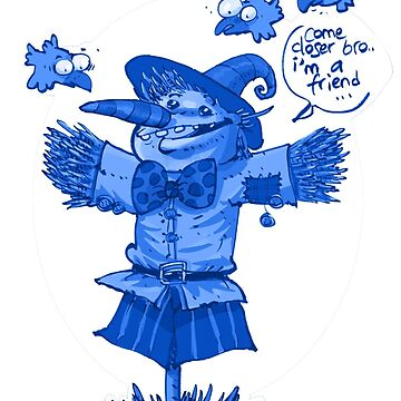 scarecrow funny cartoon blue tint by anticute