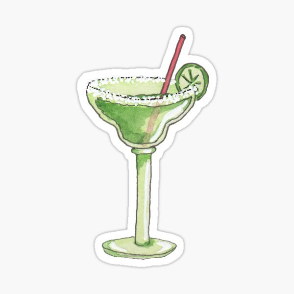 Illustrated Watercolor Margarita :: Bar Drink Sticker