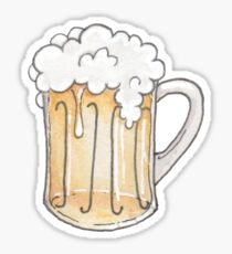 Illustrated Foamy Beer Mug -Bar Drink Watercolor Illustration Sticker