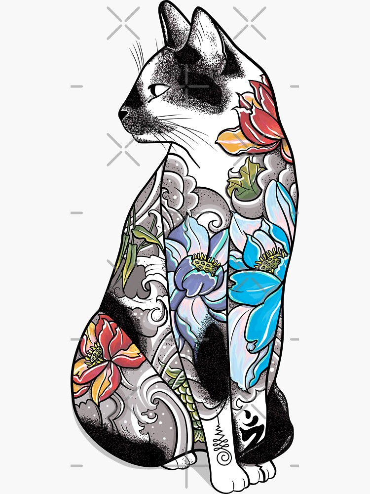 cabeza volteada hacia un lado. El torso y las patas del gato están cubiertos de violeta colorido. de runcatrun