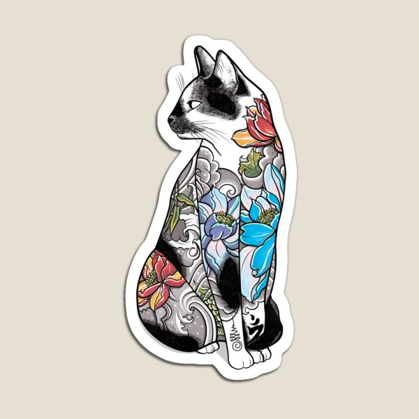 Cat in Lotus Tattoo Magnet